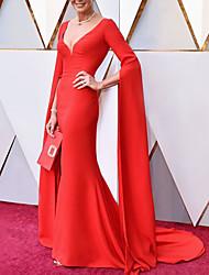 cheap -Mermaid / Trumpet Celebrity Style Elegant Engagement Formal Evening Dress V Neck Long Sleeve Court Train Stretch Chiffon with Sleek 2021