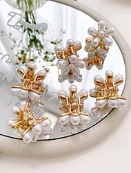 cheap -10 Pcs/set Mini Pearl Hair Claws for Women Korean Small Flower Hair Clips Set Hair Accessories Gold Crab Girls Headwear Wedding