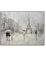 cheap -Oil Painting Handmade Hand Painted Wall Art Modern Abstract Character Walking In The Rain Home Decoration Decor Rolled Canvas No Frame Unstretched