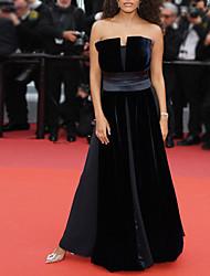 cheap -A-Line Celebrity Style Elegant Engagement Formal Evening Dress Strapless Sleeveless Floor Length Chiffon Velvet with Splicing 2021