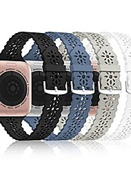 cheap -[ 4 pack] lace silicone bands compatible with apple watch band 38mm 40mm 42mm 44mm,women slim thin hollow-out iwatch sport wristband with classic clasp for iwatch series se 7 6 5 4 3 2 1(38/40/41mm))
