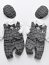 cheap -3 Pieces Baby Boys' Clothing Set Active Casual Fashion Vacation Outdoor Gray Black Plaid Bow Print Long Sleeve Regular