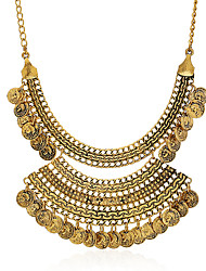 cheap -Statement Necklace Torque Women's Tassel Fringe Totem Series Luxury Vintage European Wedding Coin-Gold 50 cm Necklace Jewelry 1pc for Halloween Carnival Engagement Semicircle