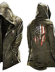 cheap -men's retro hooded cardigan poncho steam punk cape cloak coat with pocket army green