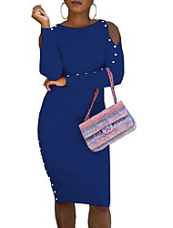 cheap -Women's Sheath Dress Knee Length Dress Blue Wine Orange Black Long Sleeve Solid Color Ruched Patchwork Button Fall Spring Round Neck Casual 2021 S M L XL XXL