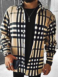 cheap -Men's Shirt Lattice Long Sleeve Street Tops Casual Fashion Comfortable Khaki Orange