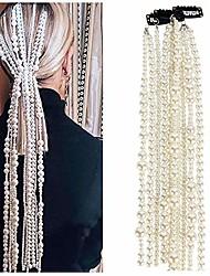 cheap -hair extension chain hair clip for women girls men boys - party head wear accessories head wear kit (pearl)