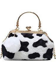 cheap -Women's Bags Faux Fur Synthetic Crossbody Bag Top Handle Bag Buttons Chain Leopard Print Zebra Print Daily Outdoor Retro Handbags Chain Bag Blushing Pink White Black Brown