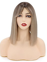 cheap -12inch short bob wig with air bangs for women ombre brown to blonde straight bob natural hairline heat resistant synthetic anime cosplay costume party lob wig