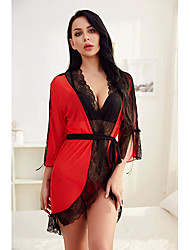 cheap -Women's Women Female Normal Backless Mesh Lace Sexy Robes Sexy Wedding Lingerie - Spandex Party Evening Date Solid Colored Robes Red White S M L