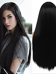 cheap -long straight black wigs for women middle part natural wig heat resistant synthetic hair full wig for daily party