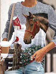 cheap -Women's Christmas Painting T shirt Graphic 3D Animal Print Round Neck Basic Christmas Tops Gray / 3D Print