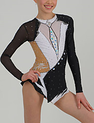 cheap -Figure Skating Dress Women's Girls' Ice Skating Dress Black Open Back Patchwork Spandex High Elasticity Training Competition Skating Wear Patchwork Long Sleeve Ice Skating Figure Skating