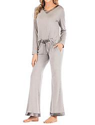 cheap -Women's Breathable Loungewear Home Daily Bed Wearable Pure Color Polyester Simple Pant Fall Winter V Wire Long Sleeve Long Pant Not Specified