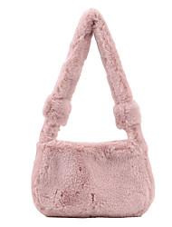 cheap -Women's Bags Faux Fur Crossbody Bag Top Handle Bag Zipper Solid Color Daily Outdoor Tote Handbags Blushing Pink Khaki White Black