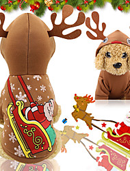 cheap -Christmas Elk In Dog Costume Stylish For Indoor and Outdoor Use Puppy Clothes Dog Outfits Warm 1 Costume for Girl and Boy Dog Cotton Blend XXL