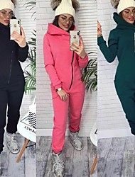 cheap -Women's One-piece Jumpsuit Tracksuit Sweatsuit Street Casual Winter Long Sleeve Fleece Thermal Warm Breathable Soft Fitness Gym Workout Performance Running Jogging Sportswear Solid Colored Black Pink
