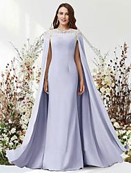 cheap -Two Piece Sheath / Column Luxurious Elegant Party Wear Formal Evening Dress Jewel Neck Sleeveless Floor Length Chiffon Lace with Sleek 2021