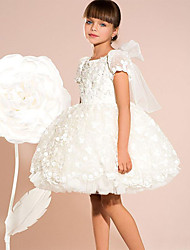 cheap -Princess Knee Length Flower Girl Dresses Party Satin Short Sleeve Jewel Neck with Bow(s)