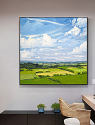 cheap -Original Forest Painting on Canvas Handmade Hand Painted Wall Art Stretched Frame Ready to Hang Large Abstract Blue Sky and White Clouds Landscape Acrylic Painting Living Room Wall Art Decor