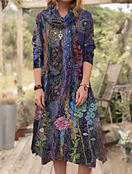 cheap -Women's A Line Dress Knee Length Dress Purple Long Sleeve Floral Print Fall Turtleneck Casual 2021 S M L XL XXL 3XL