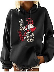 cheap -ugly christmas sweater for women funny plus size winter sweatshirt hallmark christmas shirts for women fashion leisure printed long sleeve drawstring pocket loose fit solid hooded pullover top