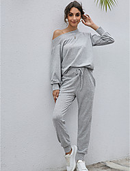 cheap -Women's 2 Piece Set Drawstring Pocket Off Shoulder Solid Color Sport Athleisure Clothing Suit Long Sleeve Breathable Soft Comfortable Everyday Use Street Casual Daily Outdoor / Winter