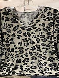 cheap -Women's Plus Size Tops Blouse Leopard Print Long Sleeve V Neck Vintage Streetwear Fall Winter khaki Big Size L XL XXL 3XL