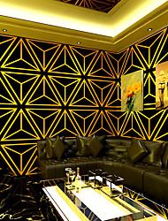 cheap -Wallpaper Wall Covering Sticker Film Embossed Stripe Simple European-style Diamond Black Gold Vinyl/PVC Home Decor 53*950CM
