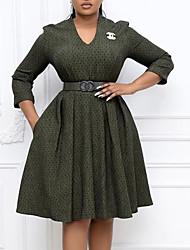 cheap -Women's A Line Dress Knee Length Dress Green Light gray 3/4 Length Sleeve Geometric Print Fall V Neck Casual Regular Fit 2021 M L XL XXL