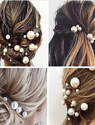 cheap -Fashion Women Simulated Pearl Hairpins Metal Barrette Clip Wedding Bridal Tiara Hair Accessories Wedding Hairstyle Design Tools 100 steel clips 18 pearl clips