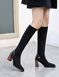 cheap -Women's Boots Block Heel Pointed Toe Knee High Boots Daily Work PU Color Block Burgundy Black Beige