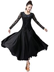 cheap -Ballroom Dance Dress Splicing Women's Training Performance Long Sleeve High Velvet