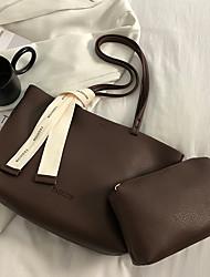 cheap -Women's Bags PU Leather Tote Bag Set Top Handle Bag 2 Pieces Purse Set Zipper Solid Color Shopping Daily Bag Sets Tote Handbags Black Brown