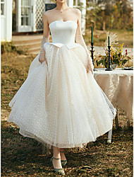 cheap -Princess A-Line Wedding Dresses Strapless Ankle Length Satin Tulle Sleeveless Vintage Little White Dress 1950s with Ruffles 2021