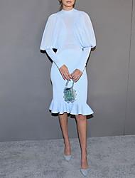 cheap -Sheath / Column Celebrity Style Elegant Engagement Formal Evening Dress Jewel Neck Long Sleeve Knee Length Chiffon Stretch Chiffon with Ruffles 2021