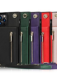 cheap -Phone Case For Apple Back Cover iPhone 13 12 Pro Max 11 SE 2020 X XR XS Max 8 7 Card Holder Shockproof Dustproof Solid Colored PU Leather