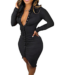 cheap -Women's Sheath Dress Knee Length Dress Purple Black Brown Long Sleeve Solid Color Ruched Plus High Low Button Fall Winter Shirt Collar Casual Sexy 2021 S M L XL XXL
