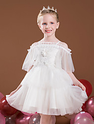 cheap -Princess Short / Mini Flower Girl Dresses Party Tulle Raglansleeve Off Shoulder with Lace