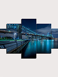 cheap -5 Panels Wall Art Canvas Prints Painting Artwork Picture Bridge Painting Home Decoration Decor Rolled Canvas No Frame Unframed Unstretched