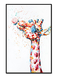 cheap -Oil Painting Handmade Hand Painted Wall Art Mintura Abstract Giraffe Animal Pictures For Home Decoration Decor Rolled Canvas No Frame Unstretched