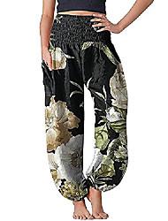cheap -women's high waist yoga pants floral print boho pants casual comfy joggers