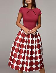 cheap -Women's A Line Dress Knee Length Dress Blue Black Red Short Sleeve Polka Dot Print Fall Spring Round Neck Vintage Classic 2021 S M L XL XXL / Party