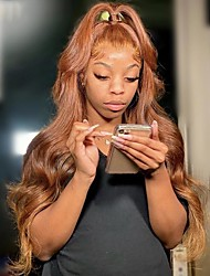cheap -150% 180% 13x4 Lace Wig HD Lace Orange Brown 13X4 Lace Frontal Wig Body Wave Human Hair Wig Peruvian Remy Hair Pre Plucked Wig For Black Women