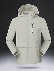 cheap -Men's Outdoor Jacket Daily Outdoor Fall Spring Regular Coat Zipper Hoodie Regular Fit Waterproof Windproof Breathable Sports Jacket Long Sleeve Solid Color Pocket Dark Grey Blue Ivory