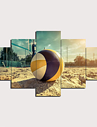 cheap -5 Panels Wall Art Canvas Prints Painting Artwork Picture Beach Volleyball Painting Home Decoration Decor Rolled Canvas No Frame Unframed Unstretched