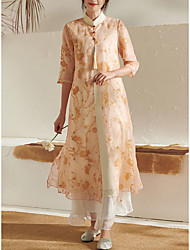 cheap -A-Line Mother of the Bride Dress Elegant Vintage Jewel Neck Ankle Length Organza Half Sleeve with Flower 2021