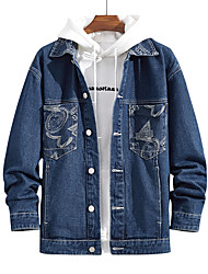 cheap -Men's Jacket Street Daily Going out Fall Regular Coat Single Breasted Turndown Regular Fit Breathable Sporty Casual Streetwear Jacket Long Sleeve Letter Pocket Print Blue / Outdoor