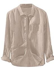 cheap -men lapel shirt solid cotton linen blouse button turn-down collar long-sleeved tees tops khaki