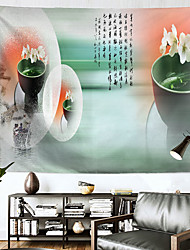 cheap -Chinese Style Wall Tapestry Art Decor Blanket Curtain Hanging Home Bedroom Living Room Decoration Polyester Lotus Leaf Poem